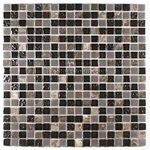 Glass Tile and Marble Mosaic - 5/8 X 5/8 Glossy Frosted Rippled Glass and Marble - S615-01A Brown Blend