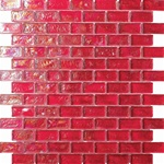 3/4 X 1 3/4 Glass Tile Brick Mosaic - GC002-1 Rippled Glass Red - Iridescent