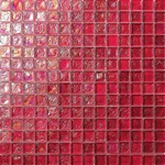 3/4 X 3/4 Glass Tile Mosaic - GC002 Rippled Glass Red - Iridescent