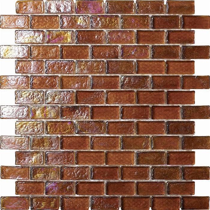 3 4 X 1 Gl Tile Brick Mosaic Gc003 Rippled Brown Iridescent
