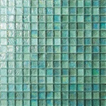 3/4 X 3/4 Glass Tile Mosaic - GC004 Rippled Glass Aqua - Iridescent
