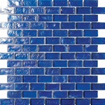 3/4 X 1 3/4 Glass Tile Brick Mosaic - GC005-1 Rippled Glass Dark Blue - Iridescent