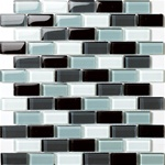 Glass Tile - 1 X 2 Glass Tile Brick Subway Mosaic - 1X2 GSD028 Black Blend - Glossy