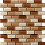 Glass Tile - 1 X 2 Glass Tile Subway Brick Mosaic - 1X2 GSD032 Brown Blend - Glossy