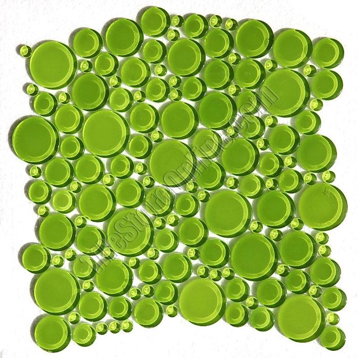Round Bubbles Gl Tile Mosaic Crystal Glbu17 1200es05 Evergreen Glossy