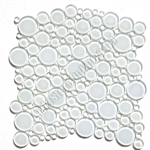 Round Bubbles Glass Tile Mosaic - Crystal Glass Bubbles Round Mosaic Glass Tile GLBU17-1200ES58 Super White  - Glossy