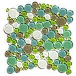 Round Bubbles Glass Tile Mosaic - Crystal Glass Bubbles Round Mosaic Glass Tile GLBU17-1200M030 Spa Blend  - Glossy
