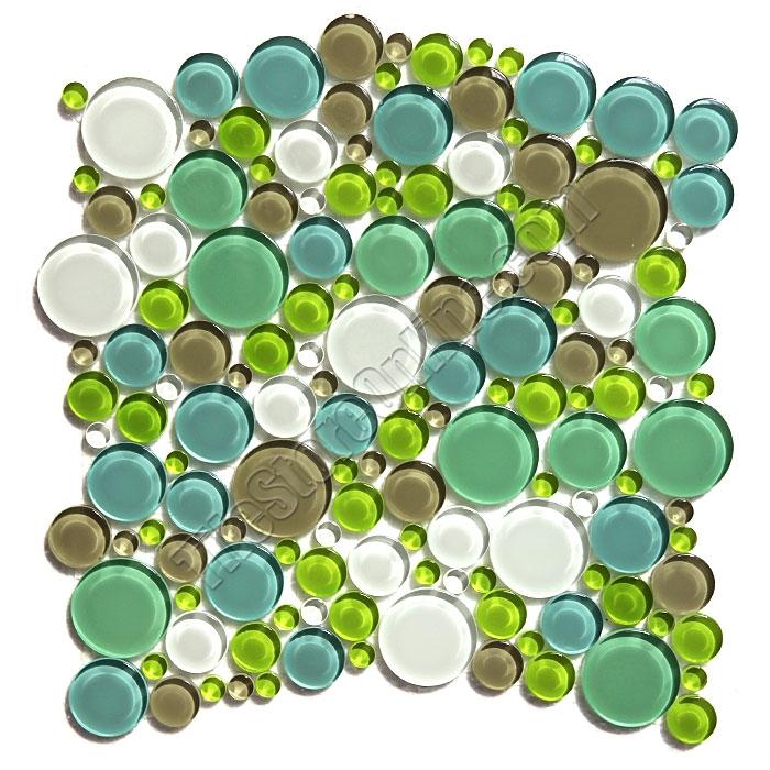 Round Bubbles Gl Tile Mosaic Crystal Glbu17 1200m030 Spa Blend Glossy