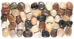 Polished River Rock Pebble Stone Border - PB 104 Mixed Salad River Rock Pebble Stone Border - Polished