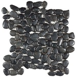 Polished River Rock Pebble Stone Mosaic - PT 102 Black Pearl - Interlocking River Rock Pebble Stone Mosaic - Polished