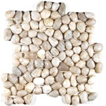 Polished River Rock Pebble Stone Mosaic - PT 103 White Snowball - Interlocking River Rock Pebble Stone Mosaic - Polished