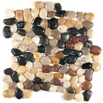 Polished River Rock Pebble Stone Mosaic - PT 104 Mixed Salad Interlocking River Rock Pebble Stone Mosaic - Polished