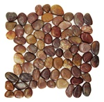 Polished River Rock Pebble Stone Mosaic - PT 105 Red Cranberry - Interlocking River Rock Pebble Stone Mosaic - Polished