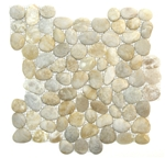 Tumbled River Rock Pebble Stone Mosaic - TT103 Maui Interlocking - Light Blend