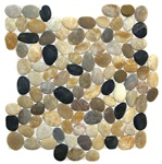 Tumbled River Rock Pebble Stone Mosaic - TT 104 Rio Interlocking River Rock Pebble Stone Mosaic - Tumbled