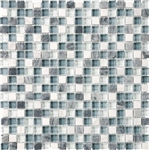 Eclipse Marina - 5/8 X 5/8 Blend of Natural Stone and Glossy Glass Tile