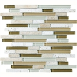 Eclipse Allure - Linear Strip Sticks of Natural Stone and Glossy Glass Tile
