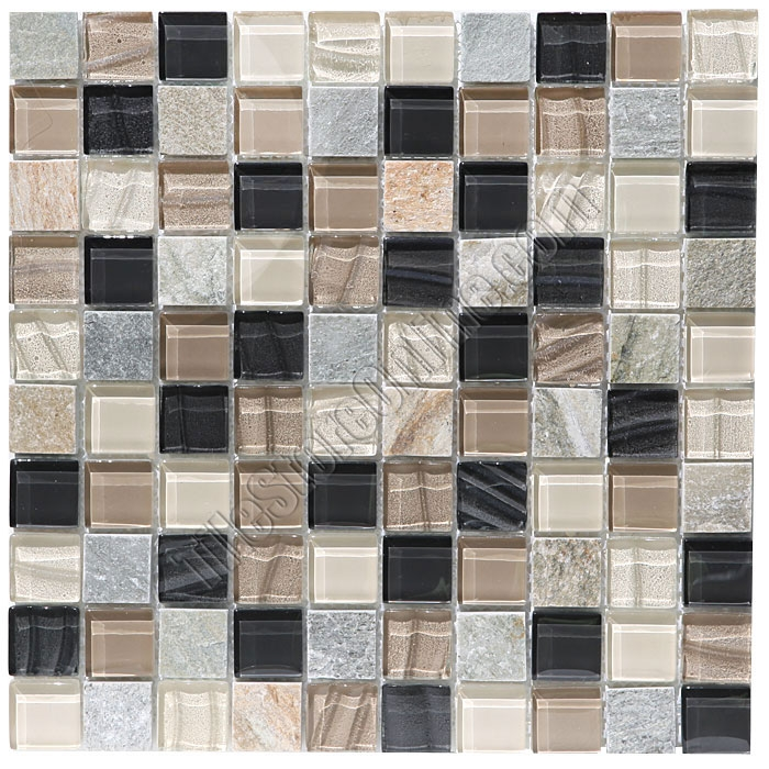 And Slate Quartz Mosaic Tile 1x1 Elume Boardwalk Gloss Gl