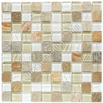 Glass and Slate Quartz Mosaic Tile - 1X1 Elume Champagne - Gloss Glass, Embossed Textured Pattern Glass, and Slate Quartz
