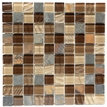 Glass and Slate Quartz Mosaic Tile - 1X1 Elume Chesnut - Gloss Glass, Embossed Textured Pattern Glass, and Slate Quartz