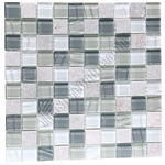 Glass and Slate Quartz Mosaic Tile - 1X1 Elume Heather Gray - Gloss Glass, Embossed Textured Pattern Glass, and Slate Quartz