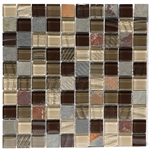 Glass and Slate Quartz Mosaic Tile - 1X1 Elume Java Bean - Gloss Glass, Embossed Textured Pattern Glass, and Slate Quartz