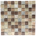 Glass and Slate Quartz Mosaic Tile - 1X1 Elume Maple Rum - Gloss Glass, Embossed Textured Pattern Glass, and Slate Quartz