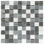 Glass and Slate Quartz Mosaic Tile - 1X1 Elume Organic Pewter - Gloss Glass, Embossed Textured Pattern Glass, and Slate Quartz