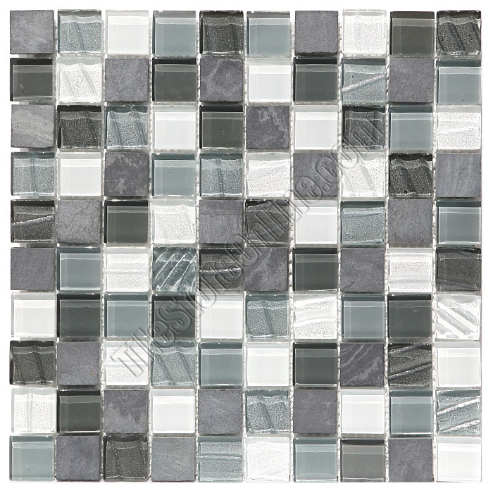 Gl And Slate Quartz Mosaic Tile 1x1 Elume Organic Pewter Gloss Embossed Textured Pattern