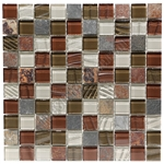 Glass and Slate Quartz Mosaic Tile - 1X1 Elume Ruby Silk - Gloss Glass, Embossed Textured Pattern Glass, and Slate Quartz