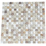 Glass Slate Quartz and Metal Mosaic Tile - 5/8X5/8 Elumery Champagne - Gloss Glass, Metal Tile, and Slate Quartz
