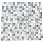 Glass Slate Quartz and Metal Mosaic Tile - 5/8X5/8 Elumery Heather Gray - Gloss Glass, Metal Tile, and Slate Quartz