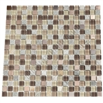 Glass Slate Quartz and Metal Mosaic Tile - 5/8X5/8 Elumery Maple Rum - Gloss Glass, Metal Tile, and Slate Quartz