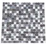 Glass Slate Quartz and Metal Mosaic Tile - 5/8X5/8 Elume Organic Pewter - Gloss Glass, Metal Tile, and Slate Quartz