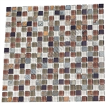 Glass Slate Quartz and Metal Mosaic Tile - 5/8X5/8 Elumery Ruby Silk - Gloss Glass, Metal Tile, and Slate Quartz