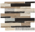 Linear Glass and Slate Quartz Mosaic Tile - Elume Boardwalk  - Gloss Glass, Embossed Textured Pattern Glass, and Slate Quartz