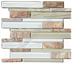 Linear Glass and Slate Quartz Mosaic Tile - Elume Champagne - Gloss Glass, Embossed Textured Pattern Glass, and Slate Quartz