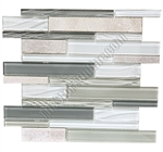 Linear Glass and Slate Quartz Mosaic Tile - Elume Heather Gray  - Gloss Glass, Embossed Textured Pattern Glass, and Slate Quartz