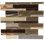 Linear Glass and Slate Quartz Mosaic Tile - Elume Java Bean - Gloss Glass, Embossed Textured Pattern Glass, and Slate Quartz