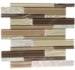 Linear Glass and Slate Quartz Mosaic Tile - Elume Maple Rum - Gloss Glass, Embossed Textured Pattern Glass, and Slate Quartz