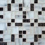 Crackle Glass Tile - Various Sized Crackled Glossy Glass and Frosted Glass Tile Mosaic - Black White Blend