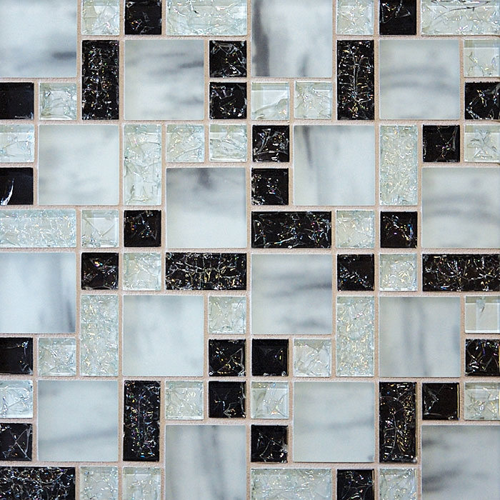 Le Gl Tile Various Sized Led Glossy And Frosted Mosaic Black White Blend