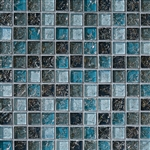 Crackle Glass Tile - 1 X 1 Crackled Glossy Glass Tile Mosaic - Blue Blend