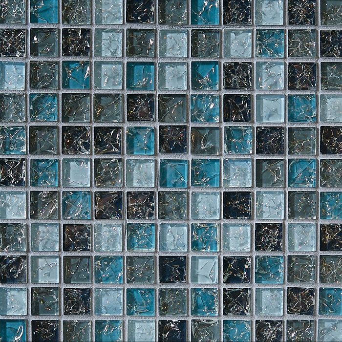 Crackle Glass Tile 1 X 1 Crackled Glossy Glass Tile Mosaic Blue