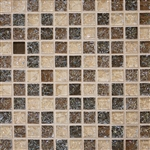 Crackle Glass Tile - 1 X 1 Crackled Glossy Glass Tile Mosaic - Brown Blend