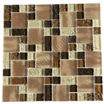 Crackle Glass Tile - Various Sized Crackled Glossy Glass and Frosted Glass Tile Mosaic - Brown Blend