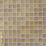 Crackle Glass Tile - 1 X 1 Crackled Glossy Glass Tile Mosaic - Cream Blend