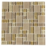 Crackle Glass Tile - Various Sized Crackled Glossy Glass and Frosted Glass Tile Mosaic - Cream Blend