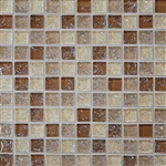 Crackle Glass Tile - 1 X 1 Crackled Glossy Glass Tile Mosaic - Tan Blend