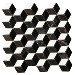 Illusion Marble Mosaic Tile - 3D Step Cube Pattern Mosaic with Black, White, and Brown Marble - Polished